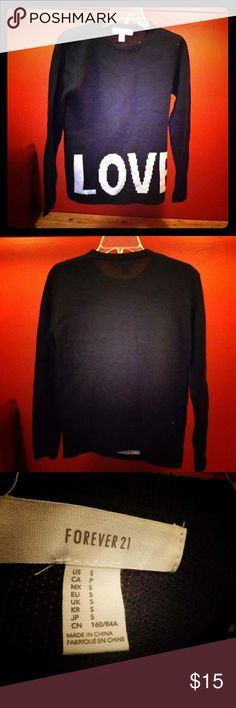 """Love forever 21 sweater This is a forever 21 fall favorite! Its super comfy and stylish! What's not to like? This """"love"""" sweater will work great with a pair of leggings and cute boots! Dressing up and staying comfy has never been so easy!! Forever 21 Sweaters Crew & Scoop Necks"""