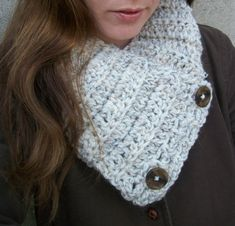 Chunky Scarf , Buttoned Cowl Scarf, Warm & Cozy Cream Wool , Winter Accessories on Etsy, $28.00