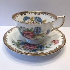 AYNSLEY TEA CUP AND SAUCER FLORAL PATTERN WITH GOLD TRIM SCALLOP EXCELLENT