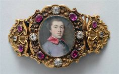 A Portrait Miniature within a Jeweled Bracelet, The miniature Dated 1756 and signed by Gervase Spencer (GS).