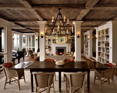 exposed beams, white bookshelves