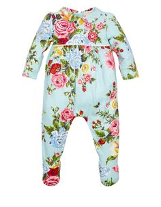 NB Aurora Rose Sleepsuit and Bib | Blue | Monsoon