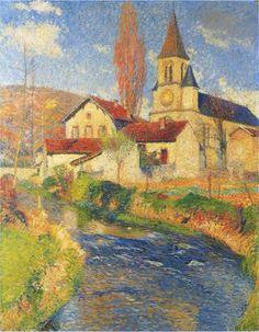 """Henri Martin -      """"Church by the River"""", 1921"""