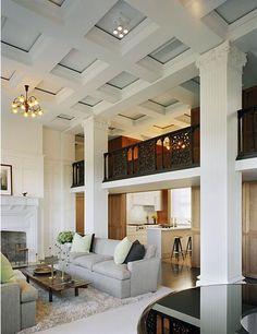 Classic column details & lovely coffer ceiling make an elegant Living Room...