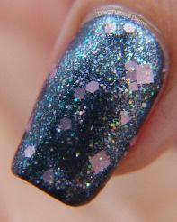 Always a Bridesmaid over black base available at www.myworldsparkles.com/lacquers.html and on Etsy www.etsy.com/shop/MyWorldSparklesStore $8.00  #nailpolish, #nails, #followme, #indienails, #indienailpolish, #supportindies, #lovepolish, #hotpink, #glitterpolish, #glitterbomb