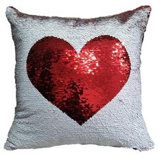 Fengheshun Positioning Embroidery Pillow Cases Reversible Sequins Heart Mermaid Pillow Covers,Great Gift for Chiristmas/Birthday/Valentine's Day/Halloween 4040 cm (Heart_White Red), Sequin Cushion, Sequin Pillow, Cushion Covers, Pillow Covers, Cheap Wall Art, Mermaid Pillow, Red Home Decor, Mermaid Sequin, Unique Wall Decor