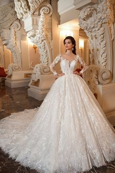 2020 Scoop Long Sleeves Lace Ball Gown Wedding Dresses With Applique And Beads Chapel 2018 Scoop Long Sleeves Lace Ballkleid Brautkleider mit Applikationen und Perlen Kapelle Spaghetti Strap Wedding Dress, Wedding Dresses With Straps, Princess Wedding Dresses, Modest Wedding Dresses, Bridal Dresses, Wedding Gowns, Lace Wedding, Spaghetti Straps, Elegant Dresses