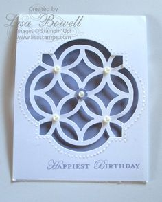 Stampin' Up! Apothecary Art Lattice card.  This card is simple and so elegant! For directions on making this card visit my blog. Made by Lisa Bowell-Stampin' Up! Demonstrator @ lisastamps.com