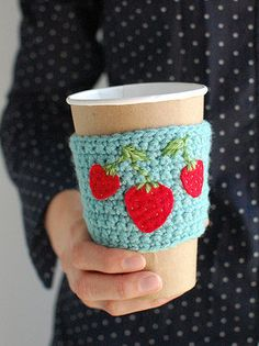 "coffee cozies. This one made by""The cozy project"""