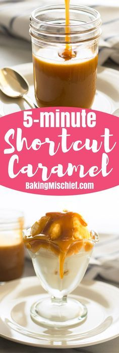 Quick and easy shortcut 5 minute caramel sauce! From http://BakingMischief.com