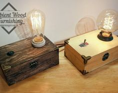 Wood Frame Table Lamp With Brass Socket Cottage by AmbientWood