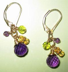 Amethyst leverback gold-filled earrings w/ peridot & citrine