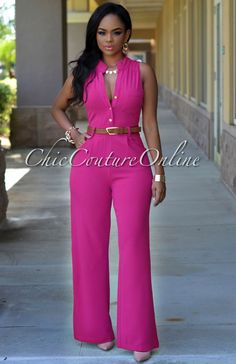 Chic Couture Online - Crystal Fuchsia Belted Jumpsuit,(http://www.chiccoutureonline.com/crystal-fuchsia-belted-jumpsuit/)