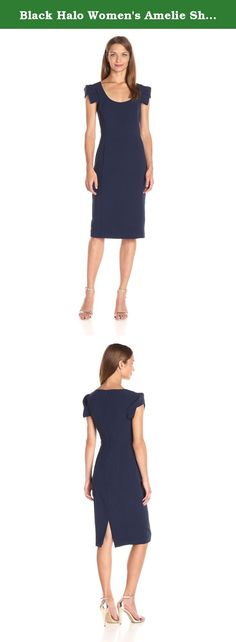 Black Halo Women's Amelie Sheath Dress, Pacific Blue, 10. Scoop-neck sheath dress featuring tonal princess seaming and origami-style cap sleeves with decorative folds.