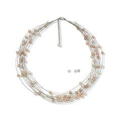 Set Valero Pearls Dans de Perle Albe, Caisă, Liliac (cercei, colier multișir)
