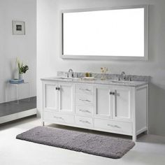 "Double Vanity Bathroom Rugs corniche 60"" white double sink vanitystudio bathe - costco"
