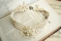 lace necklace -DEBORAH- vintage ecru from tinaevarenee on Etsy. Shop more products from tinaevarenee on Etsy on Wanelo. Antique Brooches, Antique Jewelry, Beaded Jewelry, Grandma Necklace, Simple Gowns, Lace Necklace, Vintage Gowns, Lace Collar, Bridal Beauty