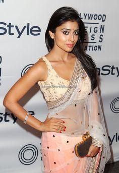 Shriya Saran Hot in pink transparent Saree