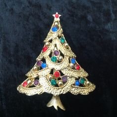 J.J. Christmas Tree Pin Brooch Holiday Jewelry by FindingYesterday
