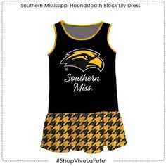 Let them enjoy on game day in this Southern Mississippi Houndstooth Black Sleeveless L An officially Licensed product from Vive La Fete Collegiate Drop waist dress Gathered skirt Above the knee length Southern Miss Golden Eagles, Gathered Skirt, Drop Waist, Houndstooth, Mississippi, Game, Skirts, Shopping, Collection