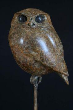 Title: Little Owl Pottery Sculpture, Bird Sculpture, Stone Sculpture, Animal Sculptures, Ceramic Birds, Ceramic Animals, Ceramic Pottery, Owl Art, Bird Art