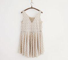 Floral Print drawstring sleeveless dresses #skirt #dress