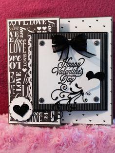 Black and white Joy Fold card. SUEBEECARDS. Susan P. Bagley