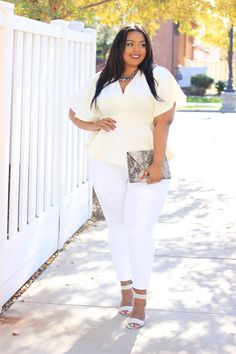 Darling Batwing Peplum Top  $32.90 | Chic and fashion-forward, the Darling plus size top features voluminous batwing sleeves and a flared peplum hem for an of-the-moment statement. Pair with slick leggings and a shining necklace for a sophisticated holiday look. V-neck, short batwing sleeves, banded waist, peplum hem.