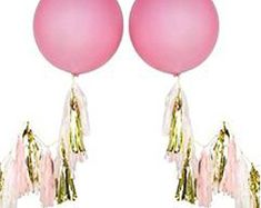 Giant Pink Balloons with Pink & Gold Tassels Jumbo Balloons, Glitter Balloons, Round Balloons, Giant Balloons, Glitter Confetti, White Balloons, Confetti Balloons, Helium Balloons, Latex Balloons