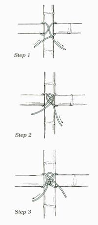 how to tie the Japanese knots for the bamboo fence