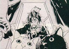 Look familiar? (Sebastian and Cats - Black Butler) :)) Black Butler Manga, Black Butler Sebastian, Ciel Phantomhive, Book Of Circus, Black Butler Kuroshitsuji, Manga Covers, Monochrom, Anime Comics, Anime Manga