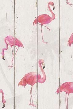 Fabulous flamingo on wood panelling wallpaper design.