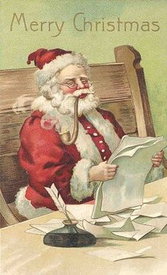 Vintage Santa reads Christmas list / vintage Christmas postcard  Source: Santa Bravepages