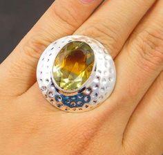 Faceted Ametrine Quartz .925 Silver Handmade Ring Size 5.25 Jewellry SJC1368 #Handmade