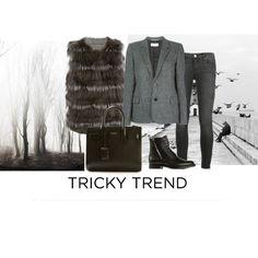 """winter furs"" by jofrebcn  #saintlaurent #yvessalomon #furvest #bags #tote #boots #ankleboots #jeans #womensfashion"