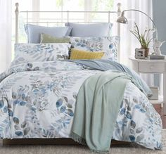 Word of Dream Cotton Duvet Cover Sets Full Queen Size, Blue Grey Leaves Pattern Printed Soft Comforter Bedding Duvet Cover with Zipper Closure Corner Ties, 3 Piece Duvet Cover + 2 Pillow Shams) Queen Bedding Sets, Duvet Sets, Duvet Cover Sets, Comforter Cover, Luxury Duvet Covers, Luxury Bedding Sets, Modern Bedding, Cute Duvet Covers, Urban Outfitters