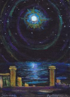 "Saatchi Online Artist Seamus O Duill; Painting, ""FULL MOON PORTMARNOCK 2013"" #art"