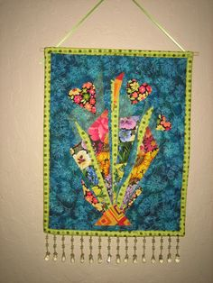 Art Deco and Hearts Blue Green Orange Beaded Quilted Fabric Wallhanging
