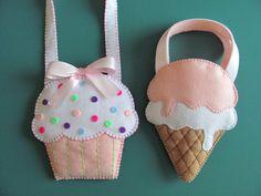 Little Girls Ice Cream Cone Purse Pattern Felt Purse Pattern Ice Cream Cone Gift Bag Party Favor PDF Tutorial How To ePattern - elea Felt Crafts, Fabric Crafts, Felt Purse, Easy Stitch, Purse Patterns, Girls Bags, Party Favors, Little Girls, Sewing Projects