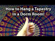 How to hang a tapestry on a wall WITHOUT nails or thumbtacks! This tutorial is also great for hanging pictures, posters, pennants, or practically any other d...