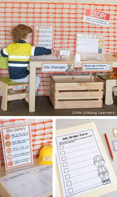Set up an inviting construction site dramatic play area for your little learners! Find inspiration for small worlds, block play, early writing and more! Construction Area Eyfs, Construction Area Early Years, Construction Theme Preschool, Construction For Kids, Construction Business, Construction Birthday, Construction Design, Eyfs Outdoor Area, Outdoor Play