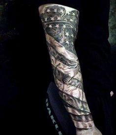 Brilliant Sleeve American Flag Tattoos