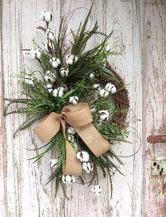 Cotton Wreath Cotton Boll Wreath Preserved Cotton