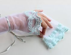 Fingerless Bridal Gloves Romantic Wrist Cuffs in by MammaMiaBridal