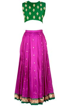 Green embellished crop top with ikat skirt available only at Pernia's Pop-Up Shop.