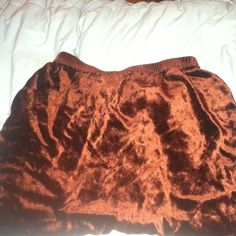 90s high waisted velvet organgish-brown skirt it's a pencil skirt//i can't model it bc it's too small on me but it's very much a size S//never worn// in okay condition but the hem it's fucked up so,, cut loose Skirts Pencil