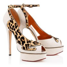 Charlotte Olympia - Primavera Verano 2016 Leopard lovers, meet your match in Leopardess. This beautiful platform pump in natural linen features a ponyskin leopard stretching from toe to heel, whose tail playfully forms the ankle strap.  Charlotte Olympia
