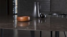 Dritto Dining Table in Pietra D'Avola honed designed by Piero Lissoni and Salvatori