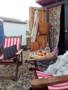 Cocktails at the beach hut. A perfect way to watch the sunset #beachhut cocktails #deckchair