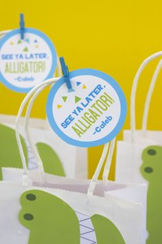 DIY Alligator Favor Bags and tags. Simply Download, Print, Cut, and Paste. #kidsparty #birthdayideas #alligator #firstbirthday #crocodile Favor Bags, Goodie Bags, Alligator Birthday Parties, Kids Gift Bags, Lolly Bags, Trends, Kid Names, Craft Stores, Card Stock